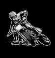 hand draw of man riding a flat track motorcycle vector image vector image