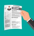 hand holding job application vector image