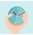 hand with clock in flat design For time vector image vector image
