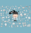 happy face businessman business doodles objects vector image vector image