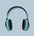 headphones in flat style with shadow vector image