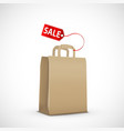 icon paper shopping bag with sale tag vector image