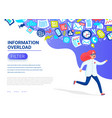 information overload concept young women running vector image vector image