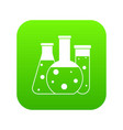 laboratory flasks icon digital green vector image vector image