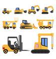 lifting machine icon set cartoon style vector image