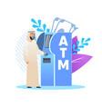 man in arab clothing at an atm cartoon flat