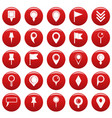 map pointer icons set vetor red vector image vector image