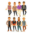 men fashion models in different casual clothes vector image vector image