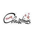 merry christmas black and red hand lettering vector image
