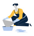mopping or wiping floor housewife or cleaning vector image vector image