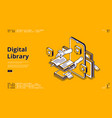 online library isometric landing internet service vector image