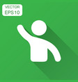 people greeting with hand up icon in flat style vector image vector image