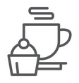 restaurant line icon food and drink cup and cake vector image vector image