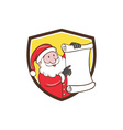 Santa Claus Paper Scroll Pointing Shield Cartoon vector image vector image