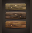set of wooden icons template wood buttons vector image vector image
