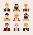 set with male hipster avatars smiling vector image