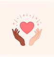 stop racism hands holding red heart vector image vector image