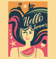 summer girl web banner vector image