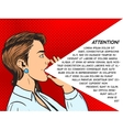 Woman shouts with hand pop art style vector image vector image