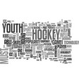 youth hockey in the modern age text word cloud vector image vector image
