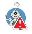 robot and sign attention vector image