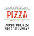 decorative sanserif font and pizza box cover vector image