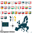 01 European Union with flags vector image