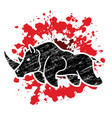 angry rhino attack graphic vector image