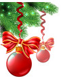 background from christmas balls and bows are vector image vector image