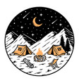 camping in mountains at night vector image