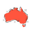 cartoon australia map icon in comic style vector image