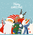 cartoon for holiday theme with reindeersanta vector image