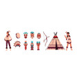 cartoon indians aztec or maya persons man vector image