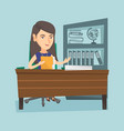 caucasian office worker working with documents vector image vector image