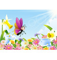 cute butterfly flying on flower field vector image vector image