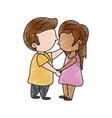 cute kids in love cartoon vector image vector image