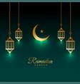 eid ramadan kareem shiny card with lamp and moon vector image vector image