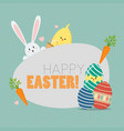 happy easter with easter elements vector image