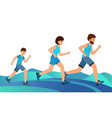 happy family on a jogging father mother and son vector image vector image