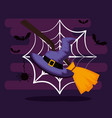 happy halloween card with witch hat and broom vector image