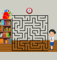 help the boy to find his backpack maze game vector image vector image