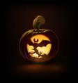 jack-o-lantern dark spooky bats vector image vector image