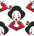 japanese woman geisha makeup and chopsticks in vector image vector image