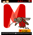 letter m with mosquito cartoon vector image vector image