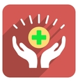 Medical Prosperity Flat Rounded Square Icon with vector image vector image