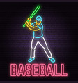 neon baseball sign on brick wall background vector image vector image
