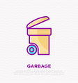opened garbage bin thin line icon vector image vector image