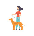 owner keeping dog on the leash at show exhibition vector image vector image