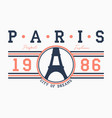 paris typography for t-shirt with slogan vector image
