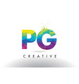 pg p g colorful letter origami triangles design vector image vector image